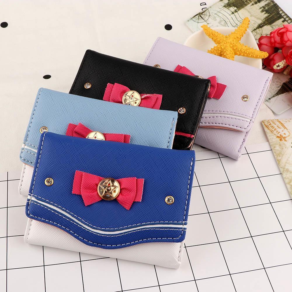 Monedero corta de las mujeres del color del caramelo del nudo del arco del monedero del embrague de moda joven Sailor Moon Cartera bolso de la tarjeta de la moneda del bolso Nuevo Popular