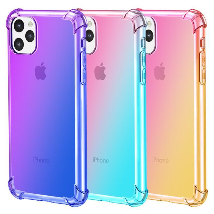 100pcs Hot Phone Case Gradient Four-Corner Drop-Proof Case For Iphone 6s 7 8 Xr Xs 11 Pro Max Plus Protective Soft Case