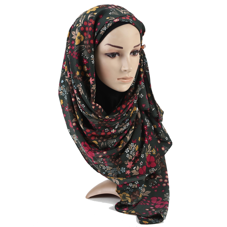 Árboles Printe pesada burbuja de la gasa de la flor del hijab bufanda chales bufandas musulmanes pañuelo envuelve Turbans diadema bufandas largas mujeres
