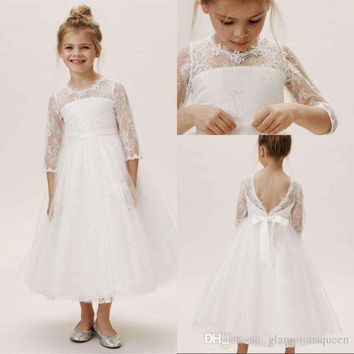 3 개 4 슬리브 활 돌아 가기 낮은 가격 어린 소녀 미인 대회 드레스와 독특한 디자인 A 라인 보석 화이트 발목 길이 레이스 꽃 소녀 드레스
