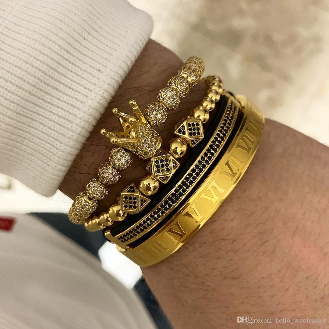 4pcs / set de la venta caliente clásica hecha a mano Hip Hop del trenzado pulsera de oro de los hombres de la CZ circón corona pulsera número romano joyería de lujo