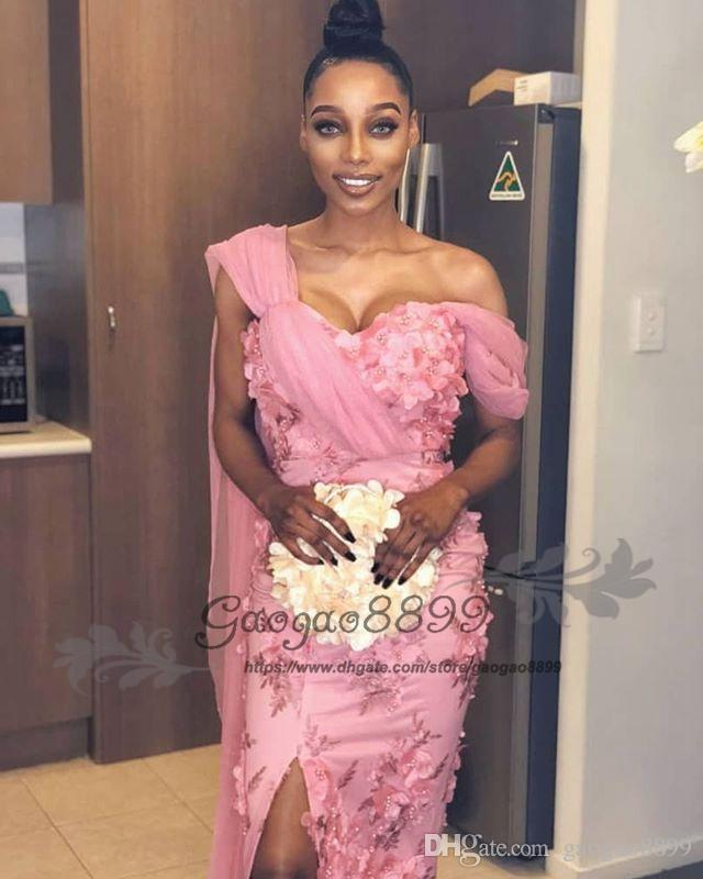 2019 Nigerian lace split evening dresses with wrap one shoulder 3D flowers elegant beaded african arabic formal celebrity prom party gowns