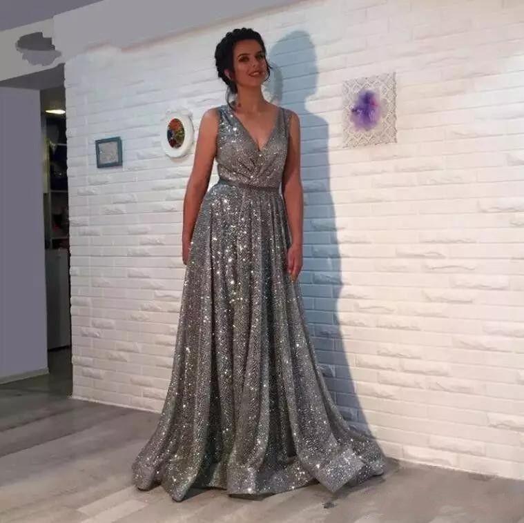 Gray Plus Size Sequined Dresses Cheap Long Elegant Arabic Evening Formal  Dresses 2018 Prom Dresses 2019 V Neck Abendkleider Vestido De Festa Evening  ...