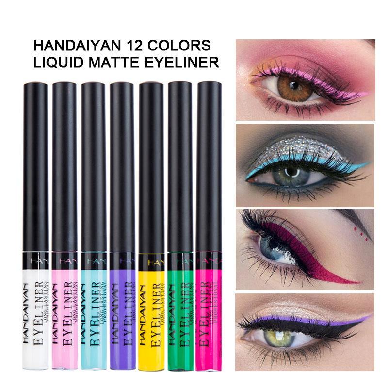HANDAIYAN ملون ماتي كحل السائل ماء 12 الألوان تينت عيون ماكياج طويلة الأمد العين اينر مستحضرات التجميل 12PCS / LOT