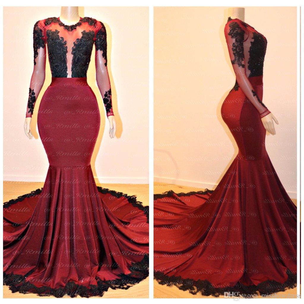 2019 Sheer Long Sleeves Satin Mermaid Long Prom Dresses Lace Applique Backless Sweep Train Evening Gowns Vestidos De Festa