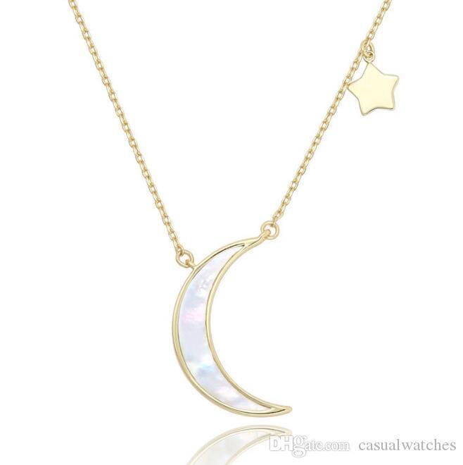 Neue Frauen Zubehör Mode Natürliche Perle Shell Halskette Mond Stern Anhänger Halskette Weibliche Schlüsselbein Kette Neue Design Halskette