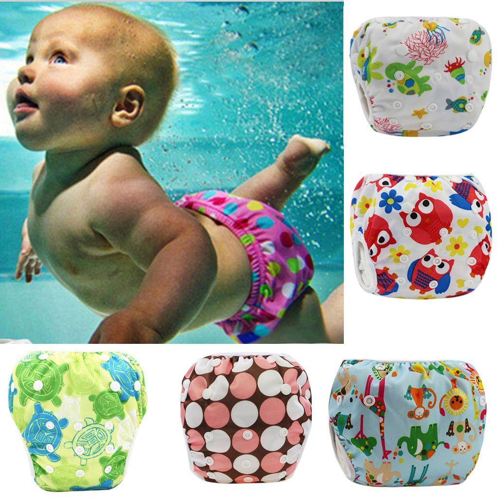 0 To 3 Years Baby Swimsuit Toddler Infant Swim Diapers Waterproof Cartoon Print adjustable Swimwear Shorts Baby Clothing