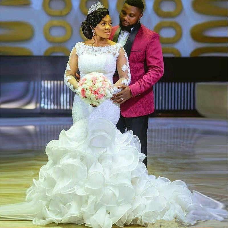 Princesse africaine Robe de mariée sirène Cascading Ruffles Plus Size manches longues arabe Pays Robes de mariée vintage en dentelle perlée robe de mariée