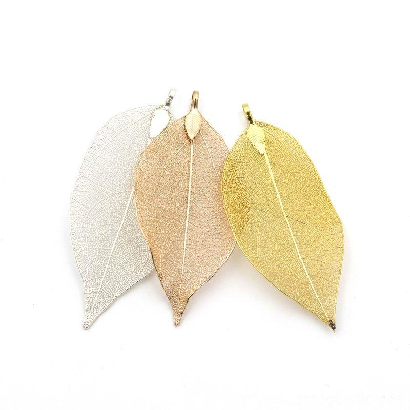 Mix 3pcs Unique Size Metal Real Leaf Big Charm Pendant For Pendant Necklaces Necklaces & Pendants Jewelry Making Diy Bracelet Necklace Acces