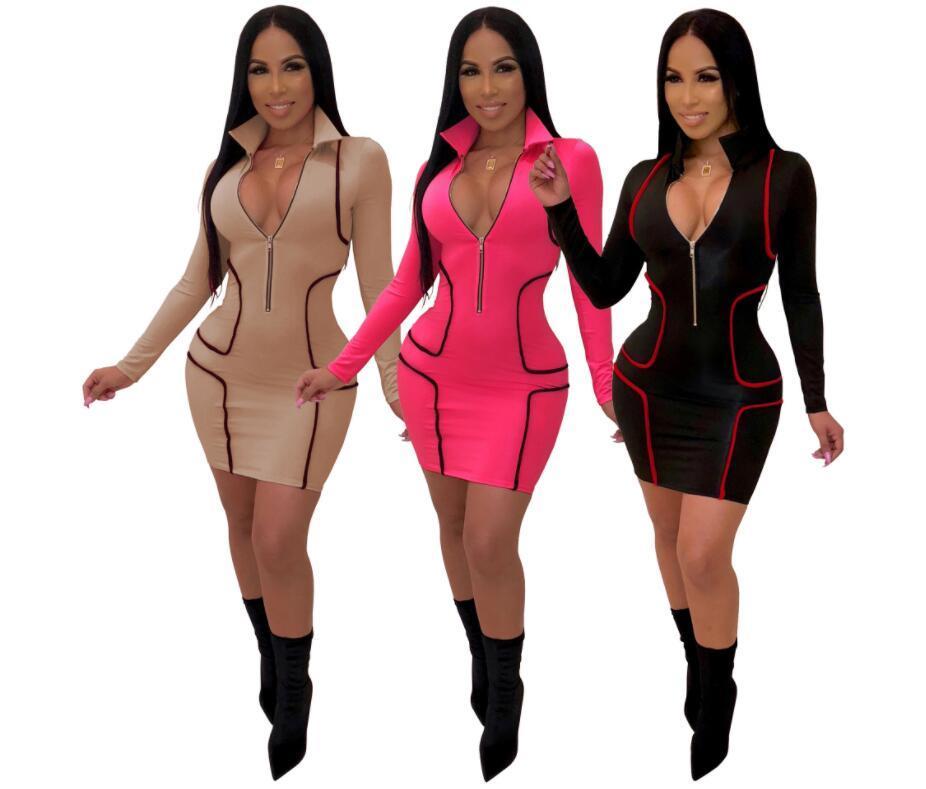 Herbst-beiläufige Kleider Sexy Frauen bodycon Partykleid Hülse lange, tiefe V-Ausschnitt Reißverschluss Patchwork-Minikleid Bürodame vestidos Robe femme