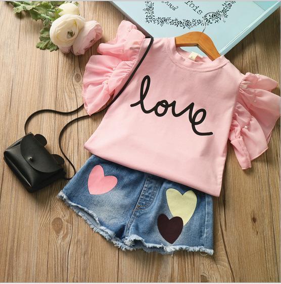 Yaz Kız 2adet Giyim İnci AŞK Kısa kollu tişört Ve Kot Şort Pantolon Suits Çocuk Giyim Seti Çocuk Setleri