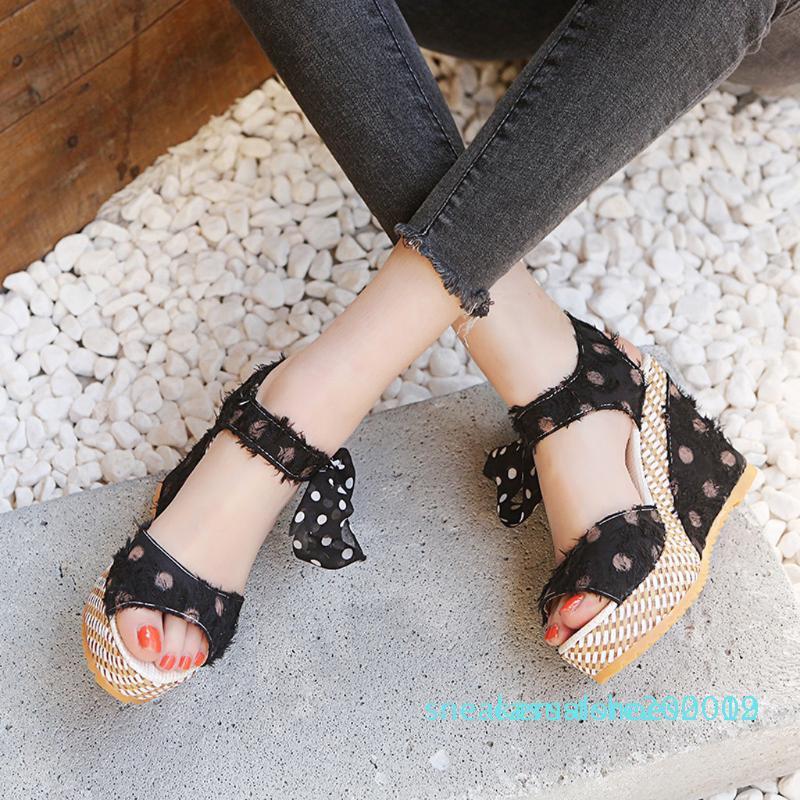 Piattaforma delle signore Cunei tallone delle donne dei sandali del puntino di modo Lace-Up Shoes Calzature S09