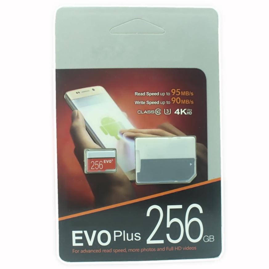 De 2019, o mais recente produto de 128GB 64GB 32GB EVO PLUS cartão Micro SD TF 256GB UHS-I Class10 Móvel Memory Card DHL