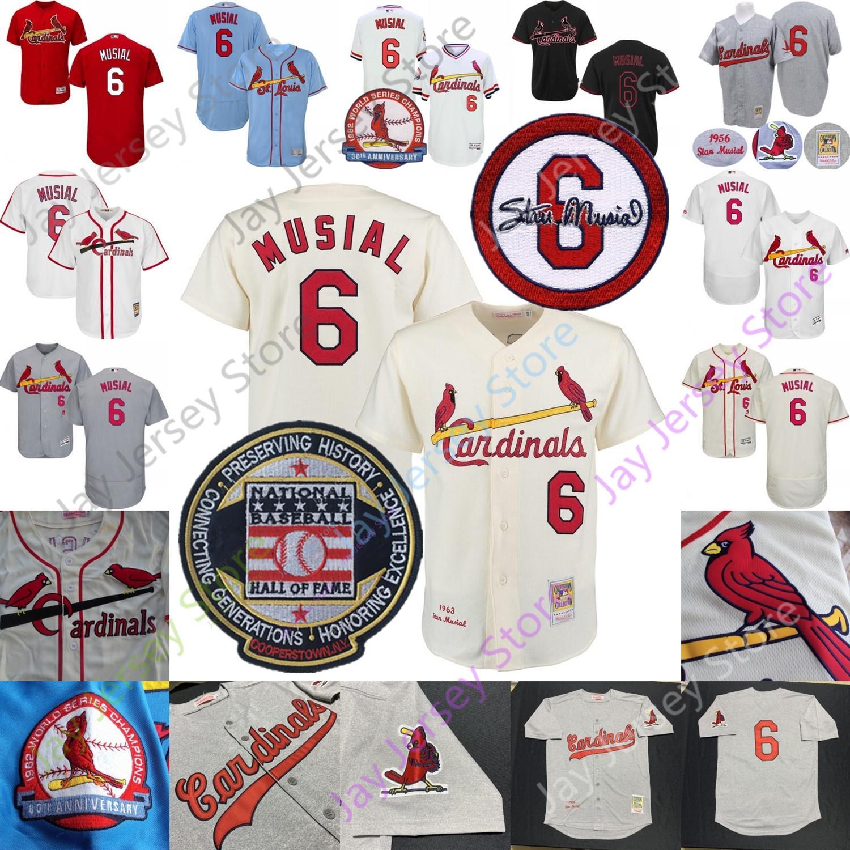 Стэн Musial Джерси 1956 Конопля-серый бейсбол Зал славы патч Синий Кремовый Белый Красный Черный Home Away Vintage
