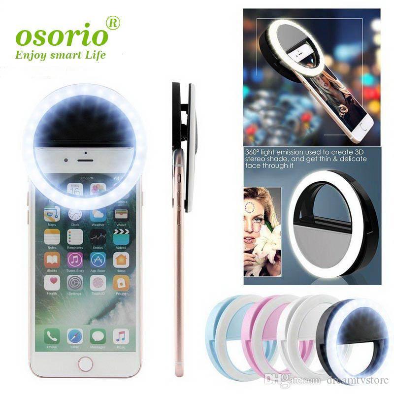 2019 LED USB selfie Light Ring Lumière téléphone rechargeable lampe flash selfie Bague d'éclairage Photographie Caméra pour tous les téléphones cellulaires