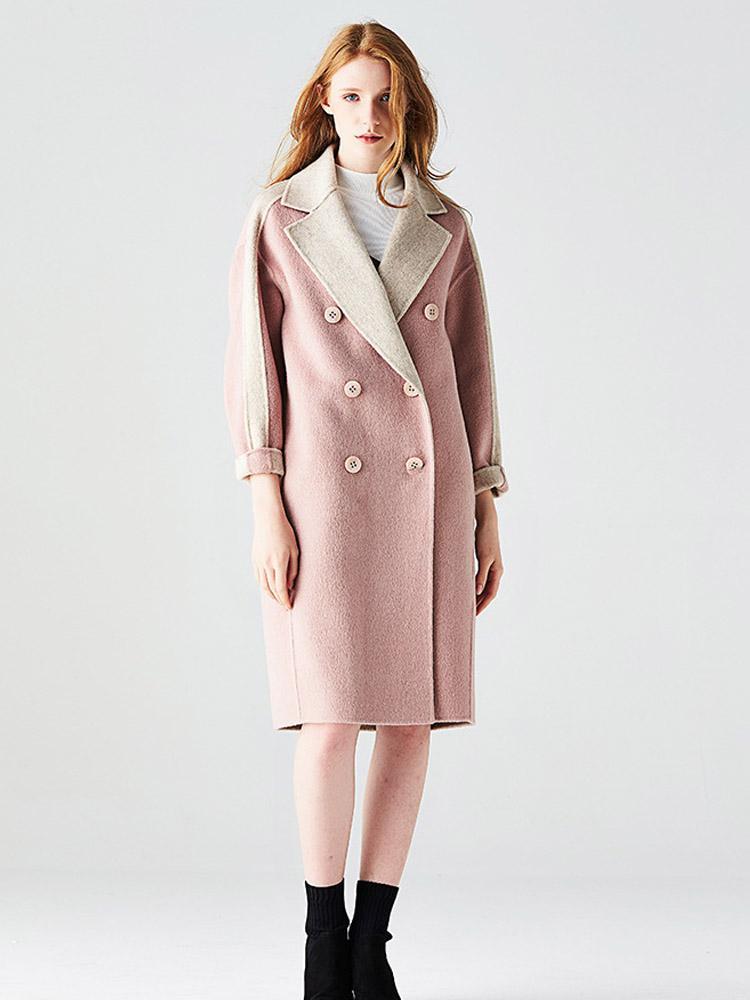 Высокое качество шерстяное пальто женщин 2019 Осень Зима новый двухсторонний кашемир куртка двубортный сплошной цвет длинные шерстяные пальто