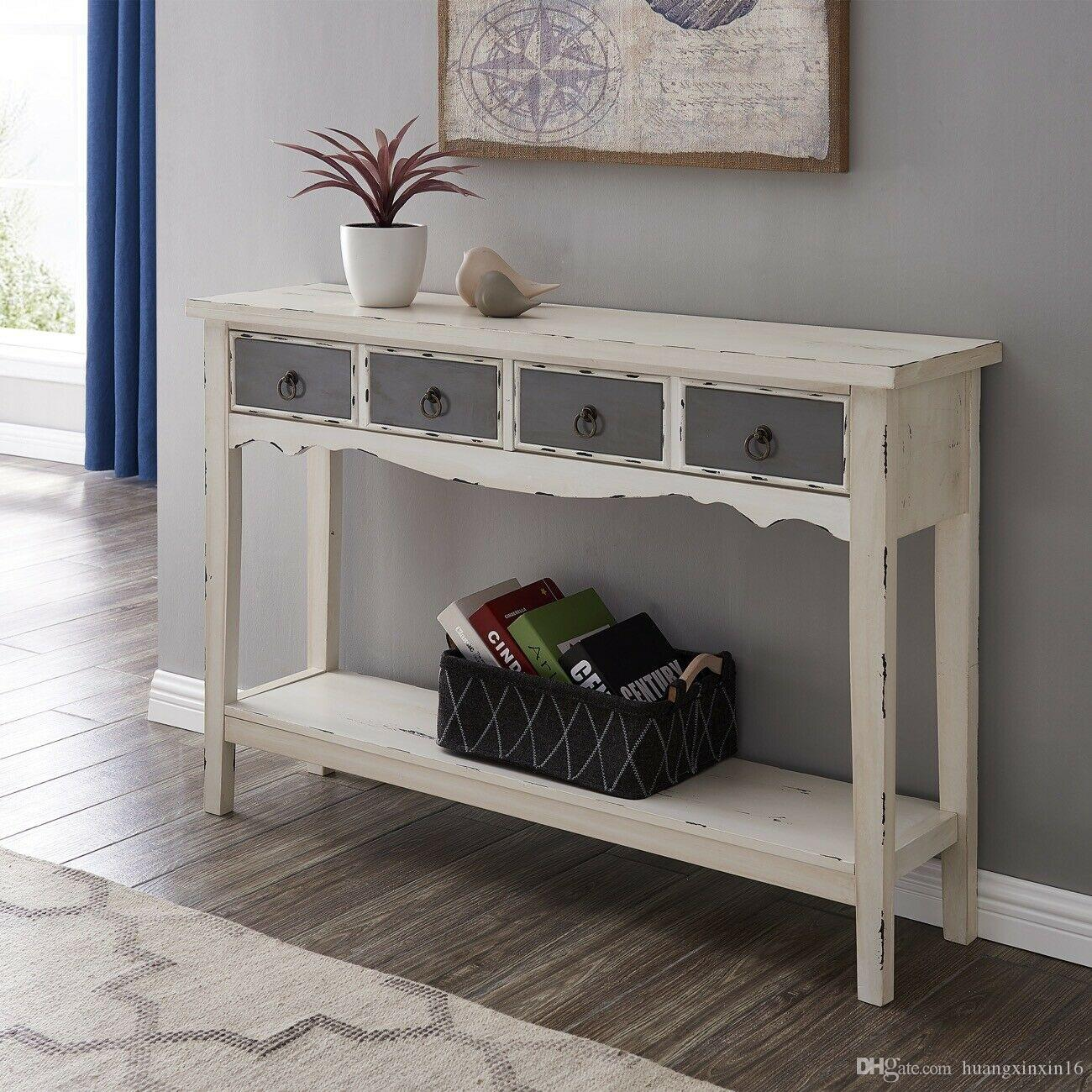 2019 Modern Living Room 2 Drawer Rectangular Console Table In Distressed White Finish From Huangxinxin16 100 5 Dhgate Com