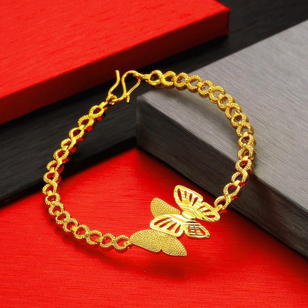 Modello di farfalla polso catena Massive femminile oro giallo 18k riempito regalo braccialetto delle donne