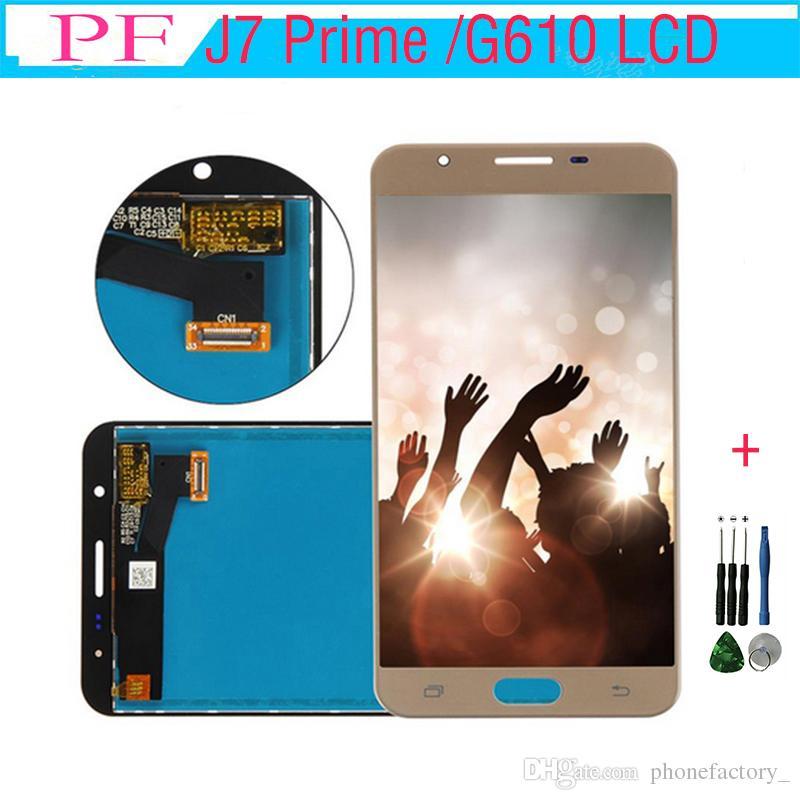 Samsung galaxy j7 prime g610 için lcd lcd ekran digitizer dokunmatik ekran meclisi ile g610f g610k g610l g610s g610y + onarım aracı