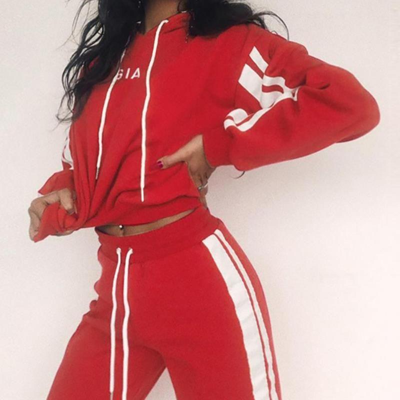 kadınlar ekin üst pantolon kukuletalı tracksutis Kadınlar Kostüm 2 adet Set Uzun Kollu Üst + Pant Eşofman Spor Suit # g2