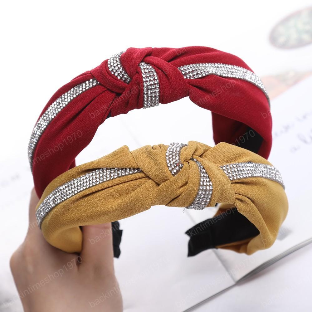 Bandas Tecido de algodão de cristal Acessórios de cabelo Mulheres Autumn Rhinestone Hairbands coreano cabeça Boho Turban Headband cabelo