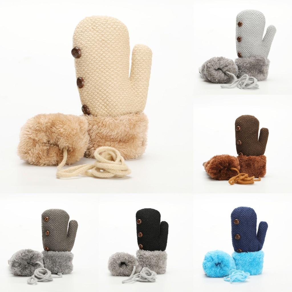 Collo caldo per bambini Hanging peluche spessa guanti di colore Windstopers Guanti antivento Anti Slip termica
