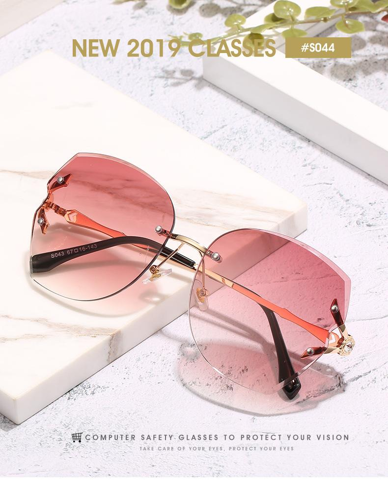 Frameless sunglasse Oversized Rimless Sunglasses Vintage Sun Glass Men Designer Brand Luxury Women Sunglass Big Square Sunglasses QPM56