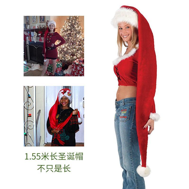 1 Pcs 155cm adulte Rouge Super Long Noël Chapeau Père Noël Chapeaux de Noël Fête de l'événement Cadeau Fournitures jardin Décor Accessoires