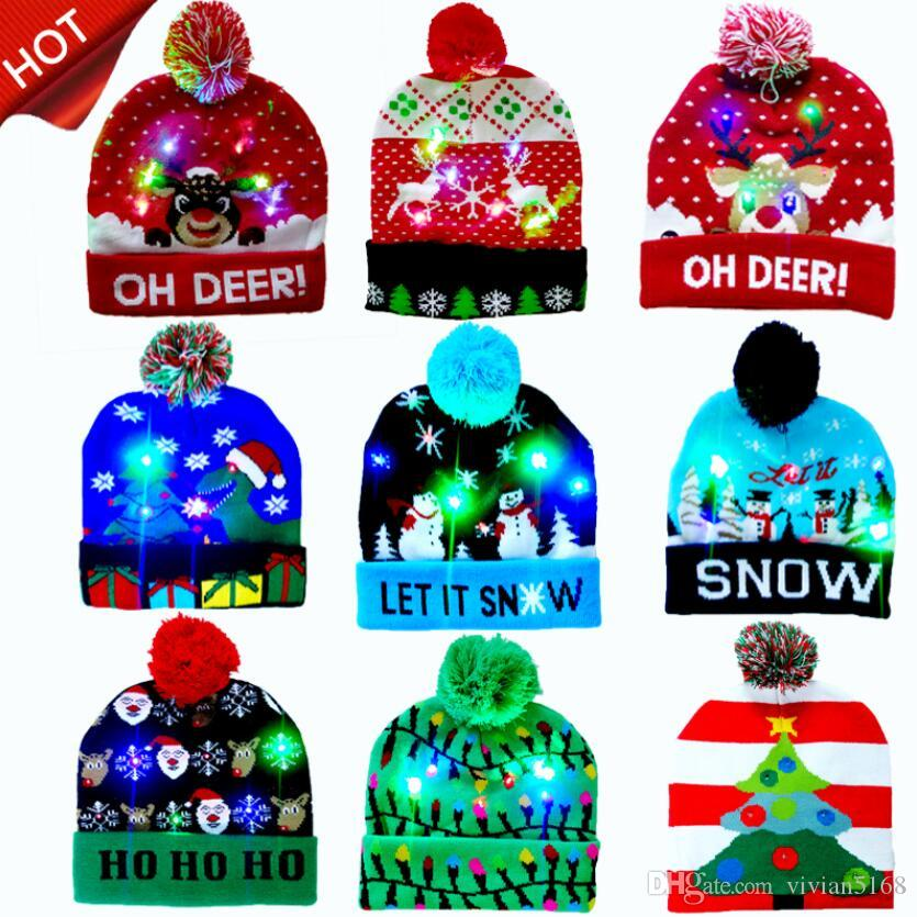 5 Styles LED Light Knitted Christmas Hat Unisex Adults Kids New Year Xmas Luminous Flashing Knitting Crochet Hat Party Favor DHL