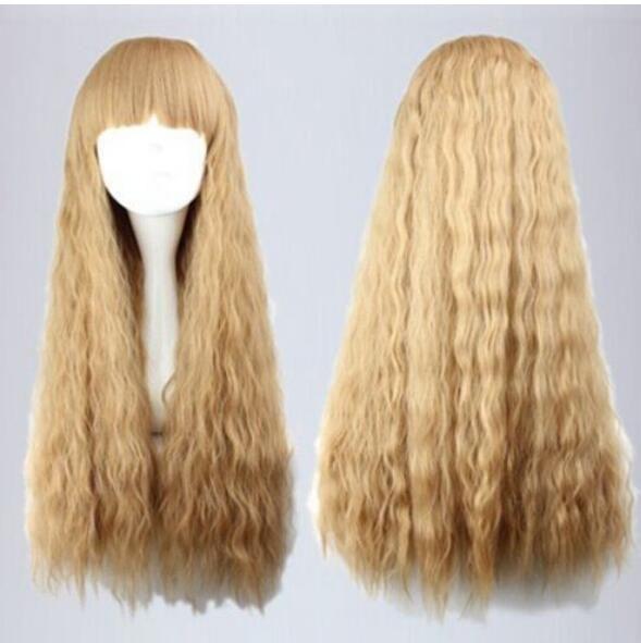 무료 배송 + ++ NEW 로리타 긴 금발 곱슬 패션 여성의 머리 가발 강타