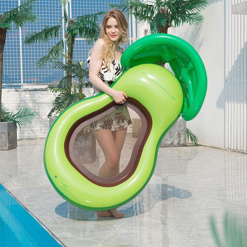 Pool Aufblasbare Floats Stuhl Sommer Avocado Wasser Floats Bett Erwachsene Schwimmen Ring Neue aufblasbare Sofa Stühle mit Sonnenschirm 050602