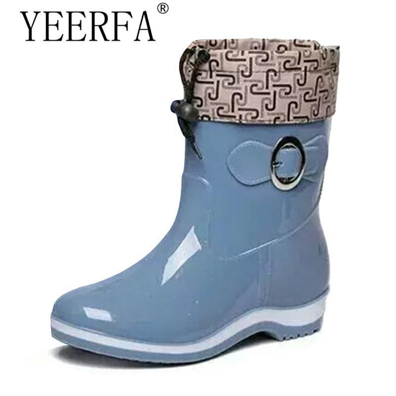 Дождь сапоги резиновые женские ботильоны повседневная обувь на платформе женщина теплые квартиры женская обувь размер 36-40 красный синий бежевый