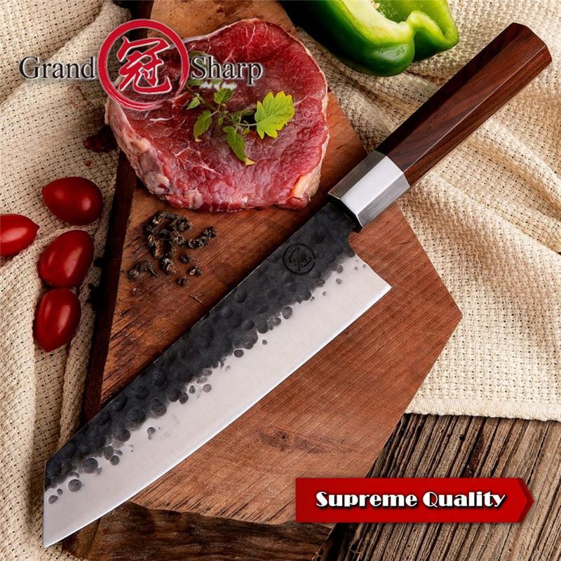Grandsharp El Yapımı Şef Bıçağı 8 Inç Yüksek Carcon 4cr13 Çelik Japon Kiritsuke Profesyonel Mutfak Dilimleme Bıçağı Pişirme Aracı Hediye kutu
