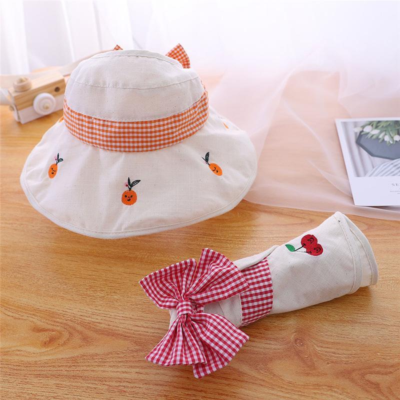 New Summer Baby Girl Hat Big Bow Cotton Kids Sun Hat Adjustable Kids Cap Stylish Children Bucket