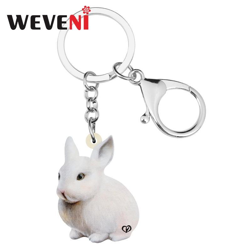 WEVENI Acrylic White Easter Hare Keychains Keyring Long Animal Key Chain Jewelry For Women Girls Kids Fashion Gifts