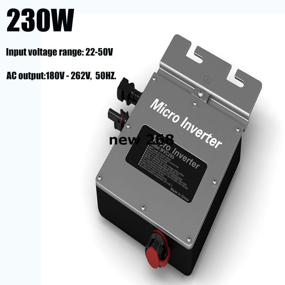 230W 220V On Grid Tie Micro Solar Inverter Waterproof 22V to 50V DC Input 180V - 262V 50HZ ACOutput Pure Sine Wave Inverter IP67