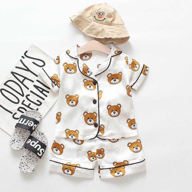 Children's Pajamas Sets Boys Girls Cartoon Bear Home Wear Kids Two-Piece Set Short-Sleeved Suit Child Home Clothes Retail