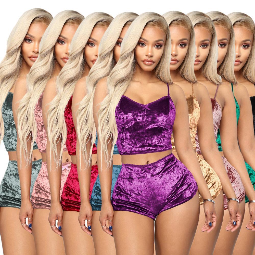 Moda Mulheres Sexy Velvet Pajama Define Ladies Lace V-Neck Cortar Tops Shorts 2pcs Pijamas Lingerie Pijama Define Sólidos