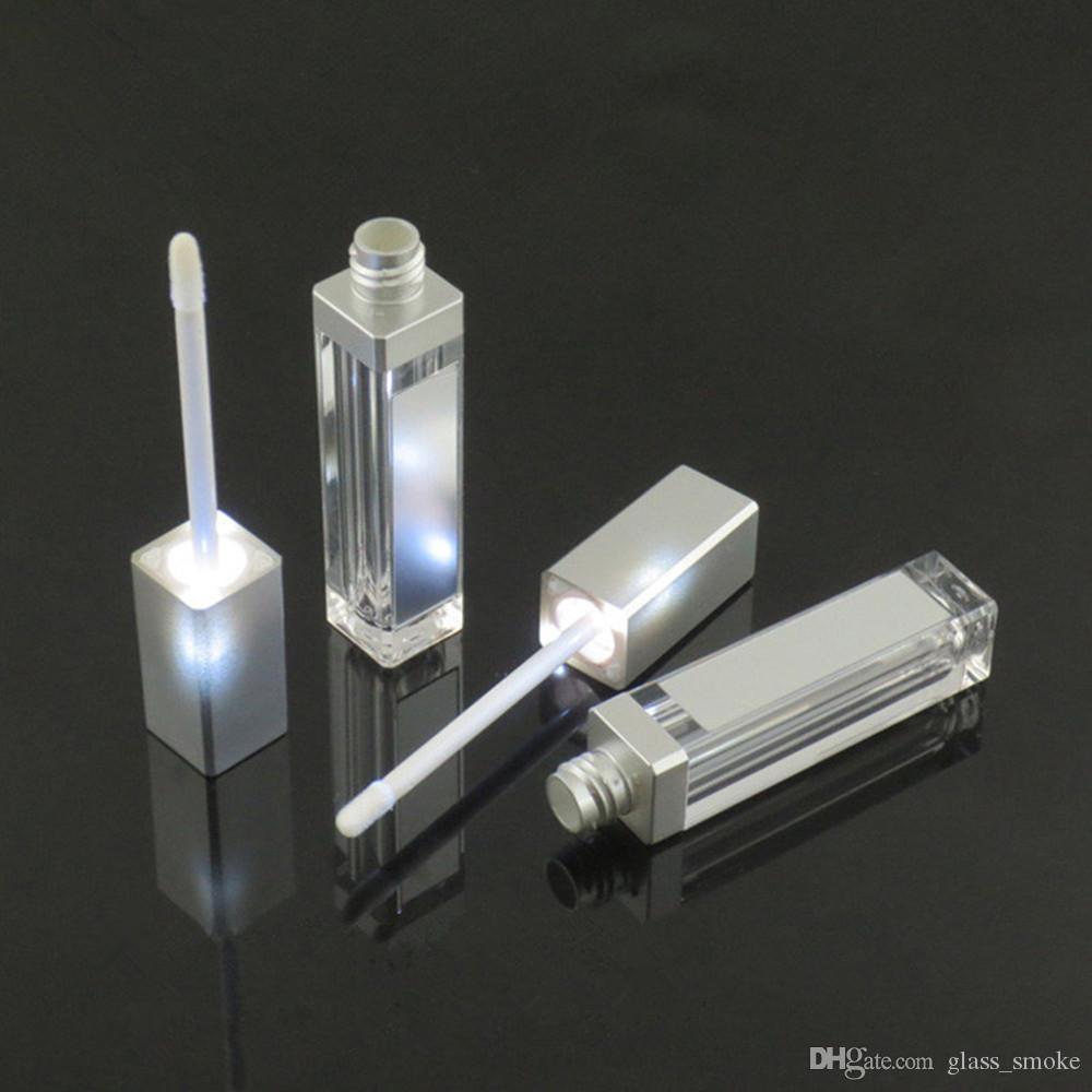 7ml Piazza Lip Gloss tubo vuoto Trucco Lip Gloss bottiglia con la luce del LED Specchio Clear contenitori cosmetici attrezzi di trucco DHL