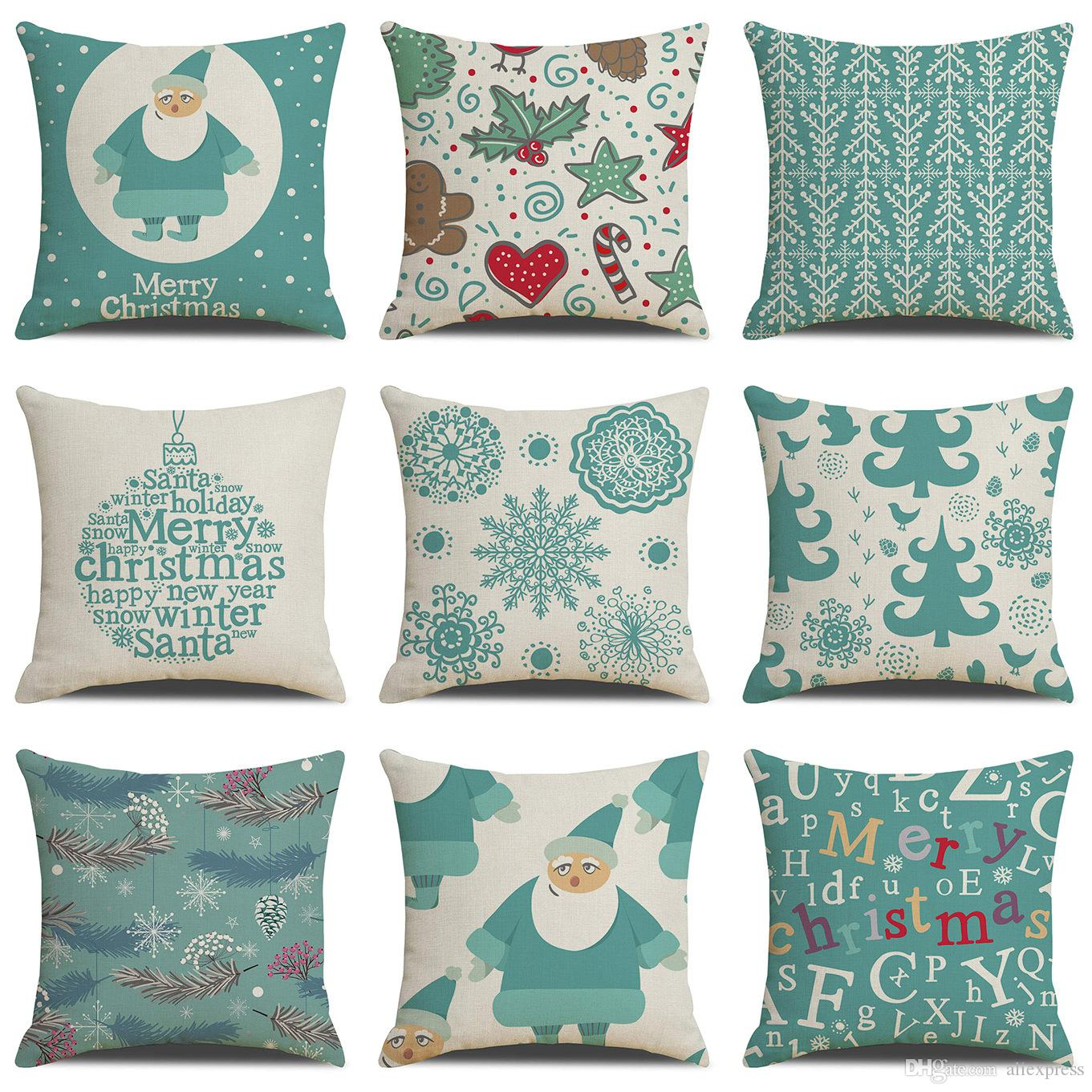 9 Designs 45 45cm Merry Christmas Cover For Cushion Cute Deer Decorative Pillowcases On Pillows For Sofa Bed Happy Elk Bed Cover Cushions Organic