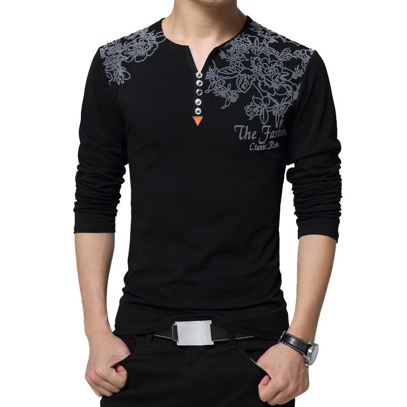2020 Autumn Fashion Floral Print Men T-shirt Henry Collar Button Decorate Long Sleeve T-shirt for Men Tops Plus Size 5XL Y200611