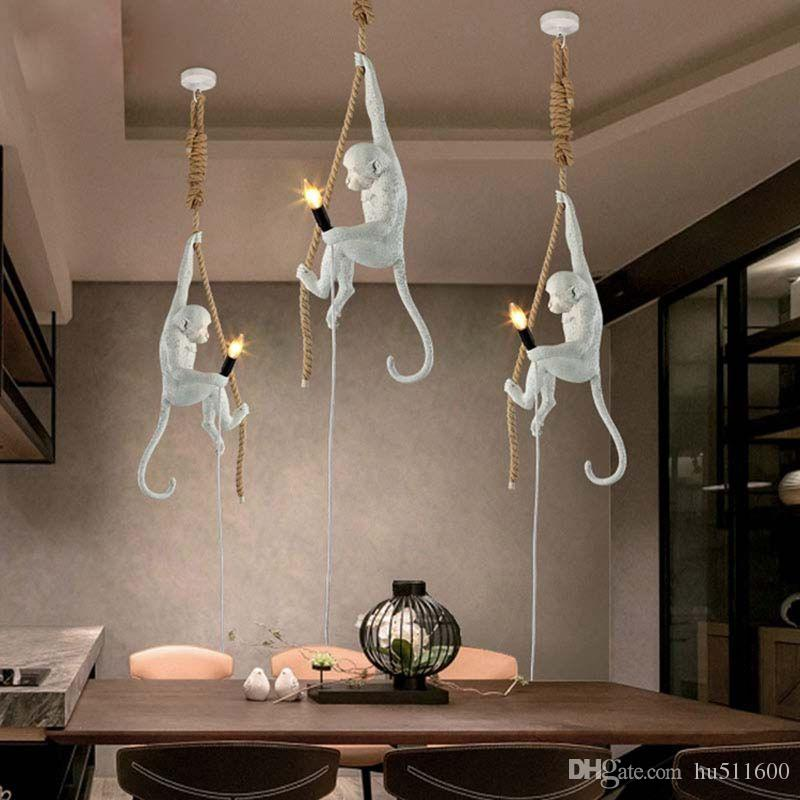Modern Creative Resin White Monkey Lamp Loft Vintage Hemp Rope Pendant Light for Home Bar Cafe Retro Hanging Pendant lamp