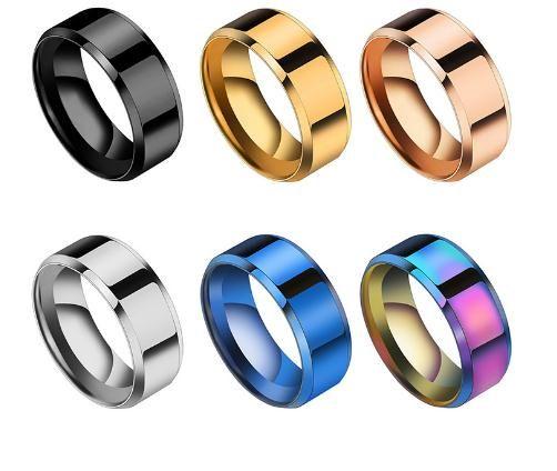 2020 Semplici acciaio di titanio 8 millimetri Wedding Bands Anello Rianbow / azzurro / oro rosa del partito nero / regalo per gli uomini gioielli di moda Dimensione 5-13