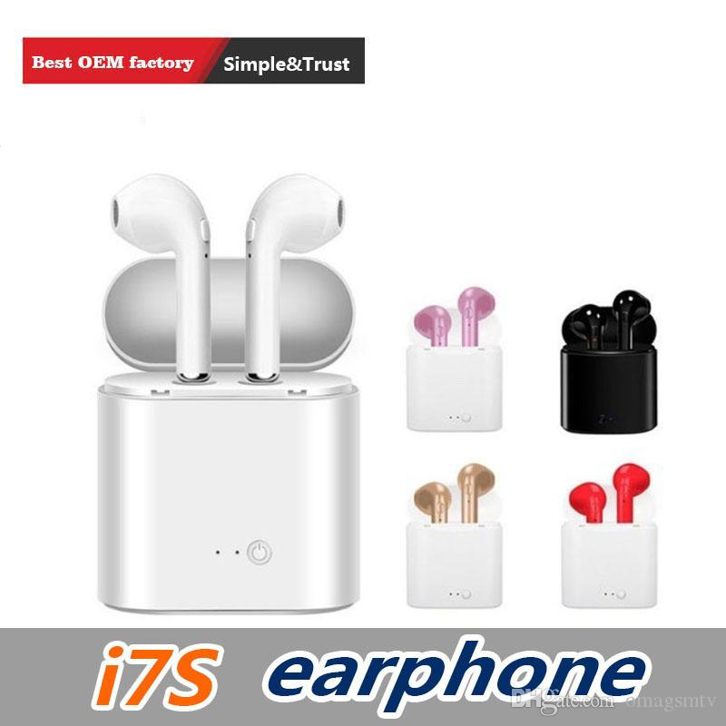1 PCS I7S TWS Wireless Headphones Earbuds Earphones With Charger Box Dock V4.2 Stereo Wireless Bluetooth Earbuds For IPhone X Samsung S10