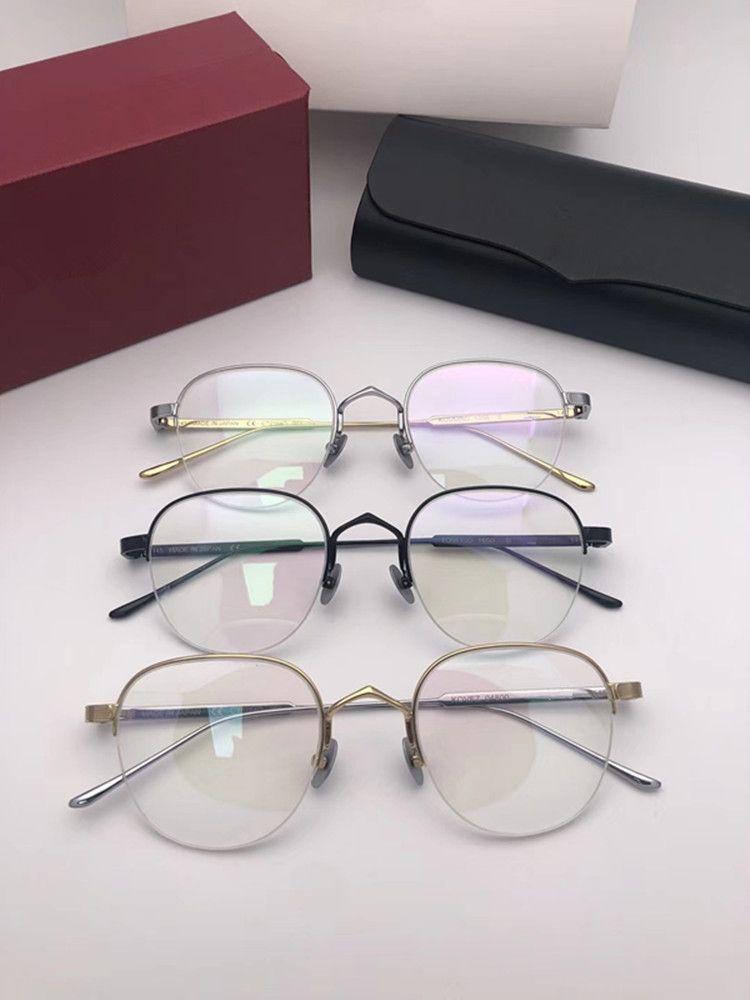 LUXE CT01640 ronde verres halfrim titane pur 50-21-145 fahion unisexe léger pour des lunettes boîte logo Fullset freeshippin