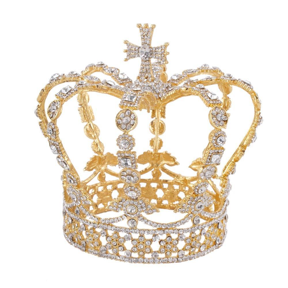 Gold Alloy Male King Cross baroque Bridal Royal prince Tiara Wedding Crown C18112001