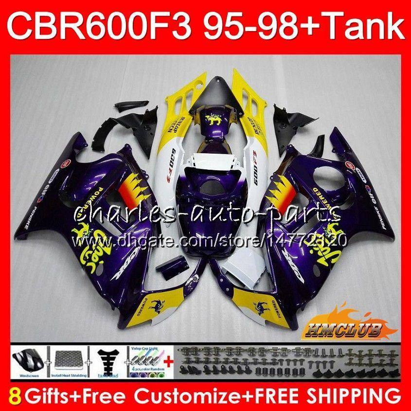 Corpo + tanque para Honda CBR 600F3 600CC CBR600 F3 95 96 97 98 41HC.121 CBR 600 FS F3 CBR600FS CBR600F3 1995 1996 1997 1998 carenagem CAMEL roxo