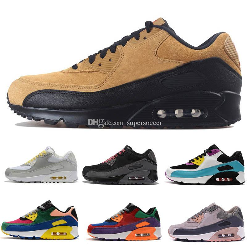 Alta Qualidade 2020 New Cushion 90 Running Shoes Men baratos Mulheres Preto Clássico Branco Bege Sneakers Almofada instrutor Sports Shoes