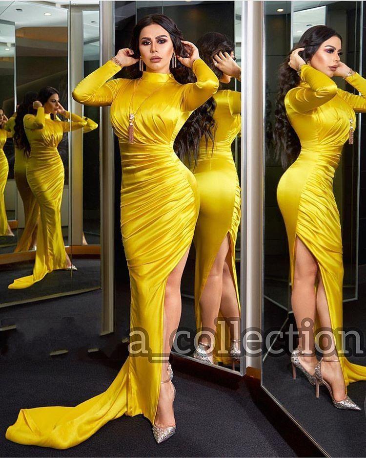 우아한 노란색 긴 소매 공주 이브닝 드레스 2,020 분할 이브닝 가운 정장 착용 높은 목 파티 드레스 가운 데 야회