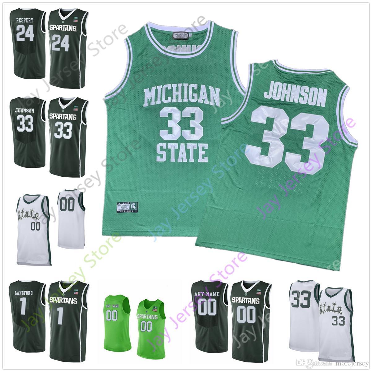 Personnalisé Michigan State Basketball Jersey College 33 Johnson 50 Randolph 23 Richardson 23 Vert
